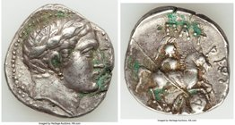 PAEONIAN KINGDOM. Patraus (335-315 BC). AR tetradrachm (23mm, 9.44 gm, 7h). XF. Damastion (?), ca. 135/4 BC. Laureate head of Apollo right / ΠΑTPAOY, ...