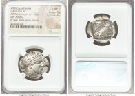 ATTICA. Athens. Ca. 465-455 BC. AR tetradrachm (26mm, 17.16 gm, 6h). NGC Choice XF 5/5 - 4/5. Head of Athena right, wearing crested Attic helmet ornam...