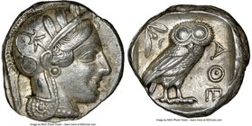 ATTICA. Athens. Ca. 440-404 BC. AR tetradrachm (23mm, 17.18 gm, 7h). NGC AU 5/5 - 5/5. Mid-mass coinage issue. Head of Athena right, wearing crested A...