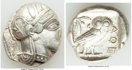 ATTICA. Athens. Ca. 440-404 BC. AR tetradrachm (23mm, 17.17 gm, 10h). XF. Mid-mass coinage issue. Head of Athena right, wearing crested Attic helmet o...