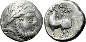 "EASTERN EUROPE. Imitations of Philip II of Macedon (2nd century BC). Tetradrachm. ""Ornamentreiter"" type."