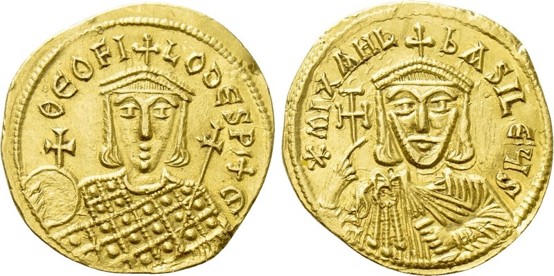 MICHAEL II AMORIANUS with THEOPHILUS (820-829). GOLD Solidus. Constantinople. 