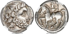 DANUBE REGION. Uncertain tribe. Ca. 3rd-2nd centuries BC. AR tetradrachm (23mm, 12.69 gm, 1h). NGC AU 5/5 - 5/5. Imitating Philip II of Macedon. Zweig...