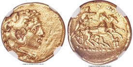CALABRIA. Tarentum. Ca. 280-272 BC. AV half-stater (15mm, 4.25 gm, 3h). NGC Choice VF 5/5 - 2/5, ex-jewelry. Head of young Heracles right, wearing lio...