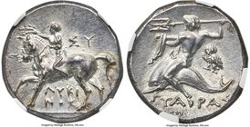 CALABRIA. Tarentum. Ca. 281-240 BC. AR didrachm or stater (19mm, 6.34 gm, 7h). NGC MS S 5/5 - 5/5. De-, Sy- and Lykinos, magistrates. Nude youth on pa...