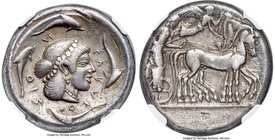 SICILY. Syracuse. Deinomenid Tyranny (ca. 475-470 BC). AR tetradrachm (24mm, 17.16 gm, 9h). NGC Choice VF 5/5 - 3/5, scratches. Time of Hieron I. Char...