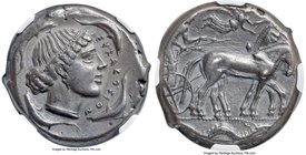 SICILY. Syracuse. Second Democracy (ca. 450-440 BC). AR tetradrachm (25mm, 17.24 gm, 8h). NGC Choice XF 4/5 - 4/5. Charioteer driving quadriga walking...