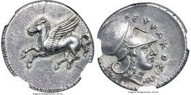 SICILY. Syracuse. Time of Timoleon, Third Democracy (ca. 344-317 BC). AR stater (22mm, 8.49 gm, 10h). NGC Choice AU S 5/5 - 5/5, Fine Style. Ca. 344-3...
