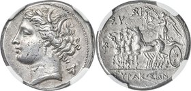 SICILY. Syracuse. Fifth Republic (Democracy) (214-212 BC). AR 8-litrae (21mm, 6.78 gm, 1h). NGC AU S 5/5 - 5/5, Fine Style, overstruck. Head of Kore-P...