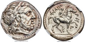 MACEDONIAN KINGDOM. Philip II (359-336 BC). AR tetradrachm (24mm, 14.23gm, 9h). NGC Choice AU 5/5 - 4/5. Posthumous issue of Amphipolis, ca. 323-315 B...