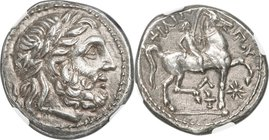 MACEDONIAN KINGDOM. Philip II (359-336 BC). AR tetradrachm (24mm, 14.15 gm, 2h). NGC AU 5/5 - 4/5. Amphipolis, ca. 310-294 BC. Laureate head of Zeus r...