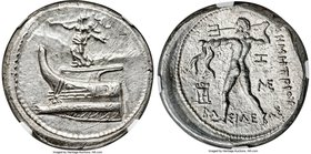 MACEDONIAN KINGDOM. Demetrius I Poliorcetes (306-283 BC). AR tetradrachm (26mm, 17.24 gm, 4h). NGC Choice MS 5/5 - 5/5. Amphipolis, 294-293 BC. Nike s...