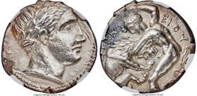 PAEONIAN KINGDOM. Lycceius (ca. 359/6-335 BC). AR tetradrachm (23mm, 13.00 gm, 11h). NGC MS 5/5 - 4/5. Laureate head of Apollo right / ΛΥΚK-EIOY, Hera...