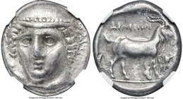 THRACE. Aenus. Ca. 405-356 BC. AR tetradrachm (24mm, 15.03 gm, 12h). NGC Choice VF 5/5 - 2/5, scratches. Chian standard. Head of Hermes facing, turned...