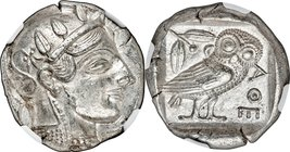 ATTICA. Athens. Ca. 465-455 BC. AR tetradrachm (24mm, 17.19 gm, 7h). NGC Choice AU S 5/5 - 4/5, Fine Style. Head of Athena right, wearing crested Atti...