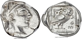 ATTICA. Athens. Ca. 465-455 BC. AR tetradrachm (24mm, 17.23 gm, 4h). NGC Choice AU 3/5 - 3/5. Head of Athena right, wearing crested Attic helmet ornam...
