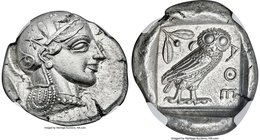 ATTICA. Athens. Ca. 455-440 BC. AR tetradrachm (27mm, 17.19 gm, 3h). NGC MS S 4/5 - 5/5. Early transitional issue. Head of Athena right, wearing crest...