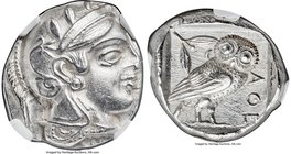 ATTICA. Athens. Ca. 455-440 BC. AR tetradrachm (22mm, 17.13 gm, 2h). NGC AU 4/5 - 3/5. Early transitional issue. Head of Athena right, wearing crested...