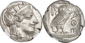 ATTICA. Athens. Ca. 440-404 BC. AR tetradrachm (25mm, 17.19 gm, 4h). NGC MS S 5/5 - 5/5. Mid-mass coinage issue. Head of Athena right, wearing crested...