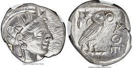 ATTICA. Athens. Ca. 440-404 BC. AR tetradrachm (26mm, 17.21 gm, 4h). NGC MS 5/5 - 5/5. Mid-mass coinage issue. Head of Athena right, wearing crested A...