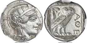 ATTICA. Athens. Ca. 440-404 BC. AR tetradrachm (25mm, 17.19 gm, 10h). NGC MS 5/5 - 4/5. Mid-mass coinage issue. Head of Athena right, wearing crested ...