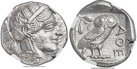ATTICA. Athens. Ca. 440-404 BC. AR tetradrachm (25mm, 17.20 gm, 4h). NGC MS 5/5 - 4/5. Mid-mass coinage issue. Head of Athena right, wearing crested A...
