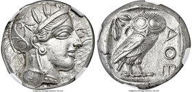 ATTICA. Athens. Ca. 440-404 BC. AR tetradrachm (24mm, 17.17 gm, 7h). NGC MS 5/5 - 4/5. Mid-mass coinage issue. Head of Athena right, wearing crested A...