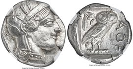 ATTICA. Athens. Ca. 440-404 BC. AR tetradrachm (25mm, 17.19 gm, 9h). NGC MS 5/5 - 4/5. Mid-mass coinage issue. Head of Athena right, wearing crested A...