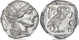 ATTICA. Athens. Ca. 440-404 BC. AR tetradrachm (23mm, 17.21 gm, 4h). NGC MS 4/5 - 5/5. Mid-mass coinage issue. Head of Athena right, wearing crested A...