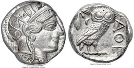 ATTICA. Athens. Ca. 454-404 BC. AR tetradrachm (23mm, 3h). ANACS MS 60. Mid-mass coinage issue, 440-404 BC. Head of Athena right, wearing crested Atti...
