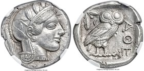ATTICA. Athens. Ca. 440-404 BC. AR tetradrachm (24mm, 17.19 gm, 2h). NGC Choice AU S 5/5 - 5/5. Mid-mass coinage issue. Head of Athena right, wearing ...