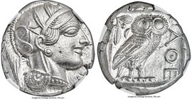 ATTICA. Athens. Ca. 440-404 BC. AR tetradrachm (23mm, 17.20 gm, 2h). NGC Choice AU S 5/5 - 5/5. Mid-mass coinage issue. Head of Athena right, wearing ...