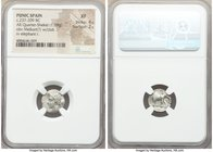 PUNIC SPAIN. Barcids. Ca. 237-209 BC. AR quarter-shekel (14mm, 1.69 gm, 12h). NGC XF 4/5 - 2/5. Head of Melqart or Hannibal left, club over shoulder /...