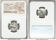 CALABRIA. Tarentum. Time of Pyrrhus of Epirus (ca. 281-240 BC). AR didrachm (19mm, 6.51 gm, 3h). NGC Choice AU 4/5 - 3/5, brushed. Gu-, Sostratos, and...