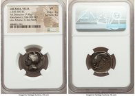 LUCANIA. Velia. Ca. 340-300 BC. AR didrachm or stater (21mm, 7.48 gm, 1h). NGC VF 2/5 - 4/5. Dies signed by Kleudorus. Head of Athena left wearing cre...