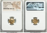 SICILY. Syracuse. Agathocles (317-289 BC). EL 50 or 25-litrai (15mm, 3.48 gm, 8h). NGC VF 5/5 - 3/5, ex-jewelry. Pre-royal coinage, ca. 310-304 BC. La...