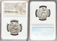 MACEDONIAN KINGDOM. Alexander III the Great (336-323 BC). AR tetradrachm (27mm, 16.82 gm, 6h). NGC MS 5/5 - 3/5. Posthumous issue of Ake or Tyre, date...
