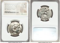 MACEDONIAN KINGDOM. Alexander III the Great (336-323 BC). AR tetradrachm (28mm, 17.17 gm, 6h). NGC Choice AU 5/5 - 3/5. Early posthumous issue of Pell...