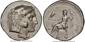 MACEDONIAN KINGDOM. Alexander III the Great (336-323 BC). AR tetradrachm (28mm, 16.92 gm, 12h). NGC XF 4/5 - 2/5, graffiti. Early Ptolemaic issue of M...