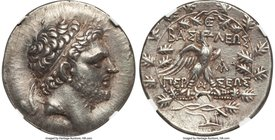 MACEDONIAN KINGDOM. Perseus (179-168 BC). AR tetradrachm (31mm, 15.62 gm, 11h). NGC Choice XF 5/5 - 4/5. Reduced standard, Pella or Amphipolis, ca. 17...