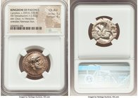 PAEONIAN KINGDOM. Lycceius (ca. 359/6-335 BC). AR tetradrachm (22mm, 12.84 gm, 6h). NGC Choice AU 5/5 - 4/5. Laureate head of Zeus right; dotted borde...