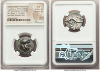 PAEONIAN KINGDOM. Lycceius (ca. 359/6-335 BC). AR tetradrachm (23mm, 12.67 gm, 2h). NGC AU 4/5 - 4/5. Laureate head of Zeus right; dotted border / ΛΙΚ...