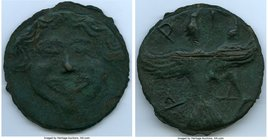 SCYTHIA. Olbia. Ca. 437-410 BC. Cast aes leve (69mm, 126.33 gm, 1h). XF, scratches. Facing gorgoneion with full cheeks, triangular chin and protruding...