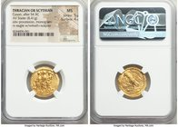 THRACIAN DYNASTS. Coson (ca. after 54 BC). AV stater (20mm, 8.41 gm, 11h). NGC MS 5/5 - 4/5. Ca. 44-42 BC. Roman consul (L. Junius Brutus) walking lef...