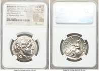 THRACIAN KINGDOM. Lysimachus (305-281 BC). AR tetradrachm (30mm, 17.09 gm, 1h). NGC Choice XF 5/5 - 4/5. Lampsacus, 305-281 BC. Diademed head of deifi...