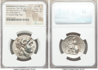 THRACIAN KINGDOM. Lysimachus (305-281 BC). AR tetradrachm (30mm, 17.09 gm, 12h). NGC Choice XF 5/5 - 4/5. Lampsacus, ca. 297-281 BC. Diademed head of ...