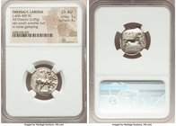 THESSALY. Larissa. Ca. 460-400 BC. AR drachm (19mm, 6.09 gm, 6h). NGC Choice AU 5/5 - 4/5. Thessalus standing right, nude but for chlamys over shoulde...