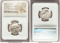 ATTICA. Athens. Ca. 440-404 BC. AR tetradrachm (25mm, 17.17 gm, 6h). NGC MS 4/5 - 5/5, die shift. Mid-mass coinage issue. Head of Athena right, wearin...