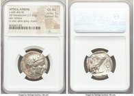 ATTICA. Athens. Ca. 440-404 BC. AR tetradrachm (24mm, 17.22 gm, 11h). NGC Choice AU 5/5 - 5/5. Mid-mass coinage issue. Head of Athena right, wearing c...
