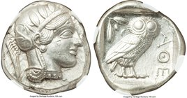 ATTICA. Athens. Ca. 440-404 BC. AR tetradrachm (24mm, 17.19 gm, 2h). NGC AU S 5/5 - 4/5. Mid-mass coinage issue. Head of Athena right, wearing crested...